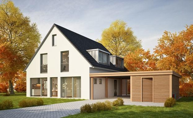 3D-Darstellung eines Hauses im Herbst